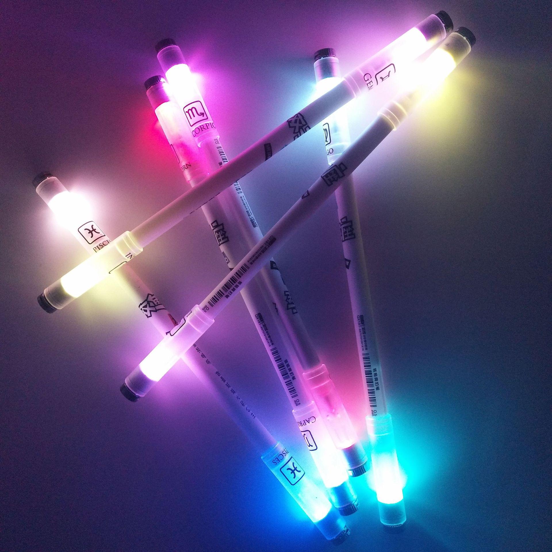 Twelve Constellation Pen Light Pen Colorful Lights Christmas Send Friends Gel Pen Twelve Constellations Colorful Lights Rotating