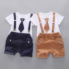 2pcs 2021 New Summer Gentleman Kids Baby Necktie Short Sleeve Cotton T Shirt+shorts Child Boys Outfits 0-4Years