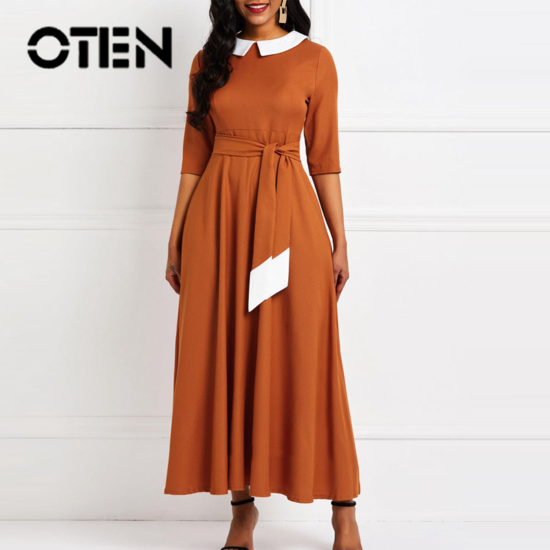 OTEN Women Casual 2019 Spring New Style <font><b>Dress</b></font> <font><b>Vintage</b></font> <font><b>1940s</b></font> School Wear to Work Half Sleeve A-line Solid Color Swing <font><b>Dress</b></font> image