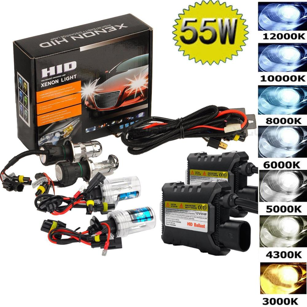 55W Xenon Hid Kit H1 H3 H4 H8 H7 H11 9005 9006 880/1 H13 Car Headlight Lamp Source Headlamp 3000K 4300k 6000k 8000k 12000K Bulbs