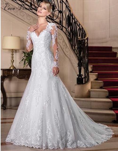 Sexy Illusion Back Long sleeve Lace Mermaid Wedding Dress 2021 Europe New Pearls Beading Appliques White Wedding Dresses W0149 2