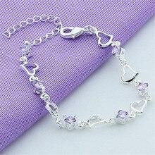 Fashion 925 Silver Bracelet For Women Heart Purple Crystal Zircon Bracelet Jewelry Gift Feminina