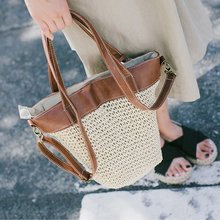 casual rattan large capacity totes wicker woven women handbags handmade shoulder crossbody