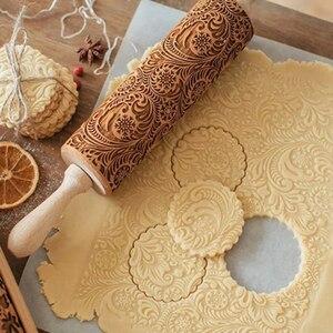 39 дюймов деревянная тисненая печатная Скалка DIY Бисквит Торт вырезание теста шаблон инструмент для выпечки Скалка кухонные инструменты для...