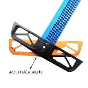 Image 4 - Règle en T à angle réglable pour travail du bois, outil de mesure de scripteur en alliage daluminium, positionnement du trou, jauge croisée 300/400mm