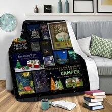 Плюшевое Флисовое одеяло для счастливого кемпинга с 3d принтом