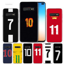 Football Number 10 Case for Samsung Galaxy S10 5G S10e S9 S8 Note 10 8 9 J4 J6 Plus M40 M30 M20 M10 Soft Phone Coque Sac Luxury(China)