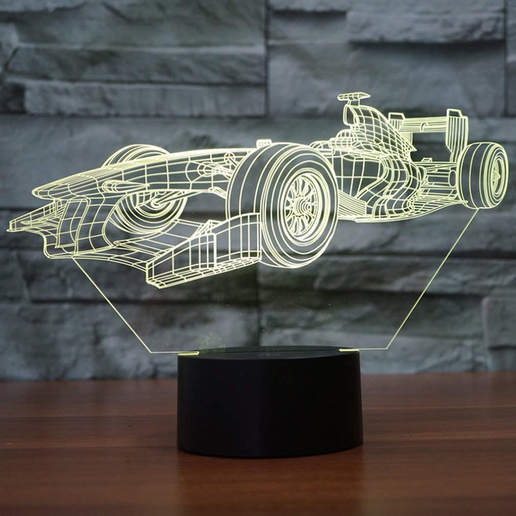 Acrylic Material Colorful 3D Night Light Creative Electronic Led Night Light Racing Car Shape Night Light