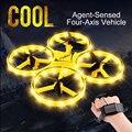 Мини гоночный Дрон умные часы с дистанционным зондированием жесты самолета НЛО ручное управление RC вертолет игрушки индукционный Дрон DIY К...