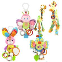 Nueva llegada suave jirafa Handbells sonajeros de bebé desarrollo manejar juguetes vendedores calientes con juguete mordedor para bebé