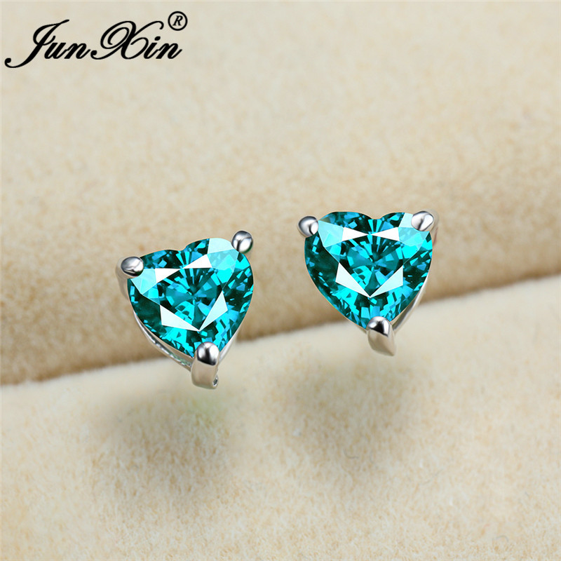 Female Crystal Small Heart Earrings White Gold Blue Green Red Pink Zircon Wedding Stud Earrings For Women Promise Ear Studs Gift
