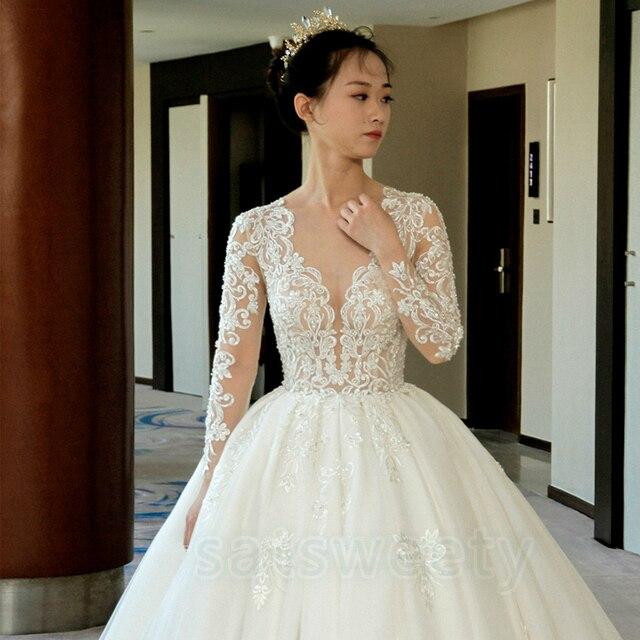 Vestido דה casamento ארוך שרוולים כלה שמלת 2020 V צוואר תחרה חתונה רומנטית שמלות Vestido דה noiva שמלת כלה