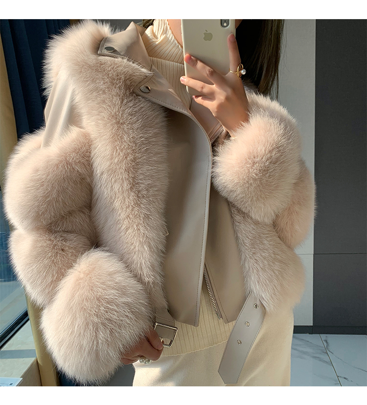 Winter  High Quality Overcoat Furry Cropped Faux Fur and Leather Patchwork Jacket Fake Fox Fur Outwear Women Faux Fur Short Coat