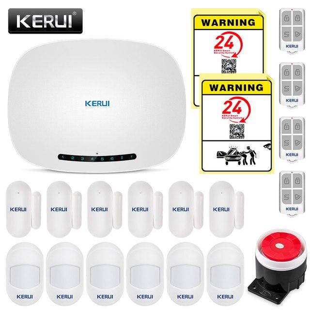 Kerui w19 무선 안드로이드 ios app 원격 제어 홈 보안 경보 시스템 gsm 창고 도난 경보 키트 미니 센서