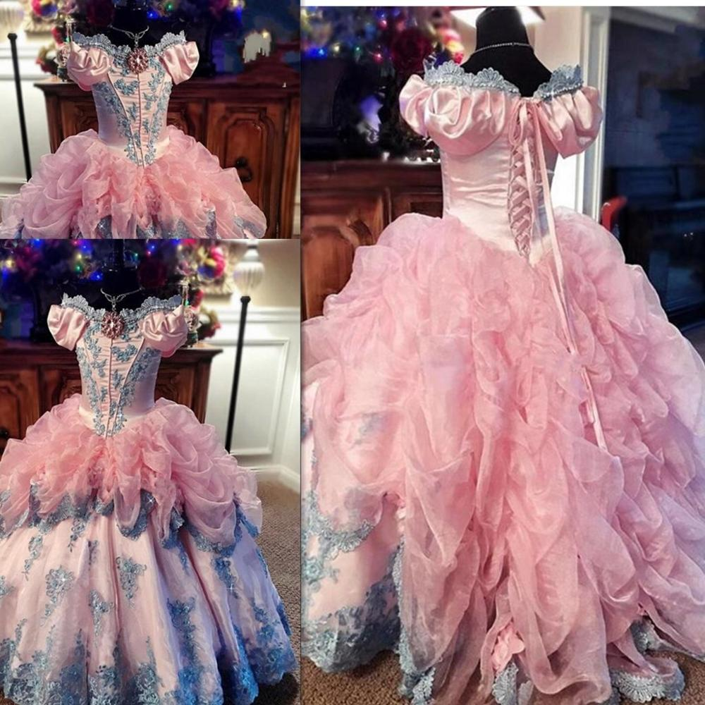 Off-shoulder Neck Flower Girl Dresses Special Occasion For Weddings Floor Length Girls Pageant Dress Appliques