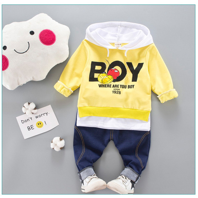 Kid Clothes Sets Baby Boy Cotton Sports Hooded T Shirt Sweatshirt + Pants Children Boys Kids Casual Suits