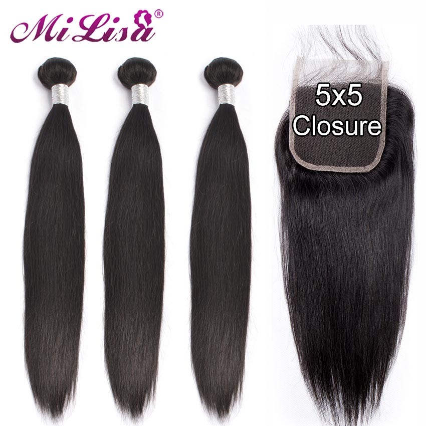 28 Inch Straight Hair Bundles With Closure Malaysian Hair 3 4 Bundles With 5x5 Closure Remy Human Hair Bundles With Lace Closure