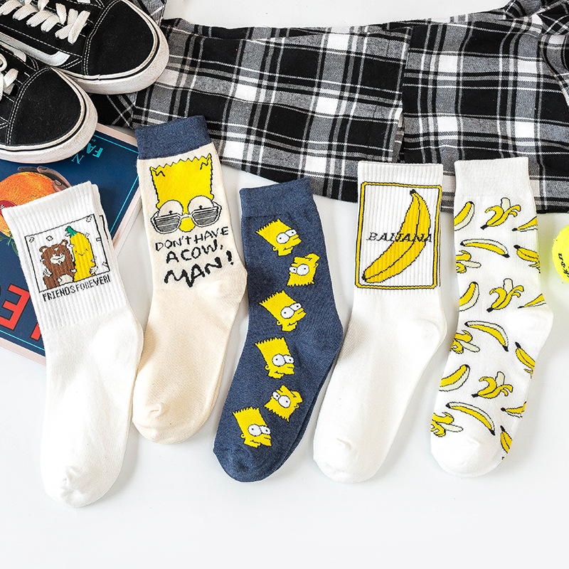 Autumn Winter Cartoon Banana Cute Socks Women Japnaese Korean Stylle Funny Socks Cotton For Mujer 092401