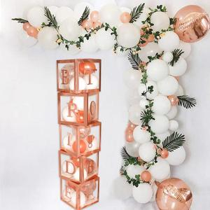 Image 2 - HUIRAN свадебное украшение из розового золота в прозрачной коробке, Свадебный декор для свадьбы помолвка, вечерние аксессуары для вечеринки, девичника вечерние принадлежности