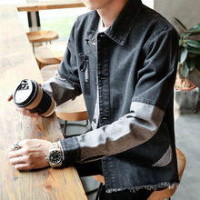 Mens Hip Hop Retro Vintage Denim Jacket Streetwear Sleeve patchwork Casual Pilot Harajuku Fashion Slim Buttoned