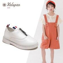Newest Autumn Girls Leather Shoe Children Fashion Baby Dance Dress Shoes Low Heels Zipper Black School For