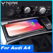 Vtear Auto Qi Draadloze Oplader Voor Audi A4 B8 A5 Accessoires Interieur Wijziging 15W Snelle Telefoon Opladen Plaat 2008-2017