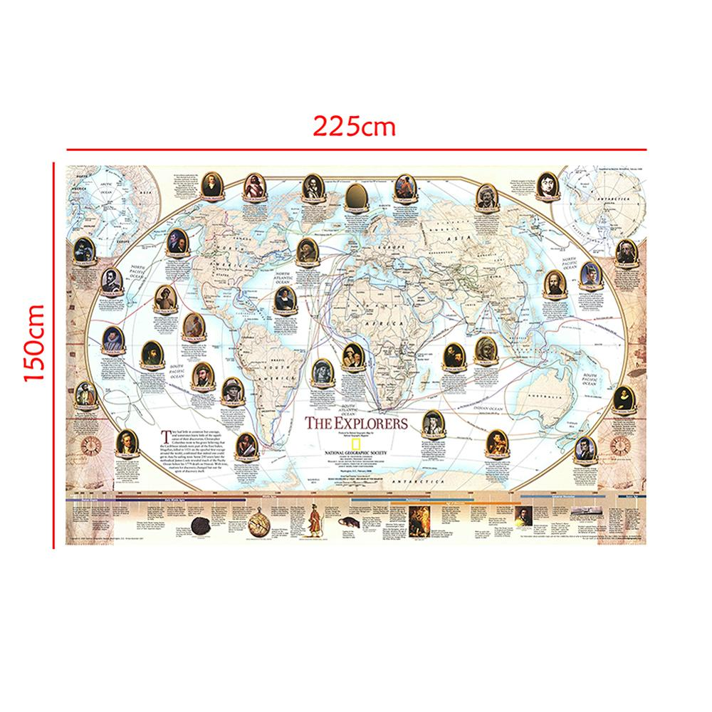 150x225cm World Famous Navigator And Explorer Non-woven Explorer Sailing Route Map For History Research