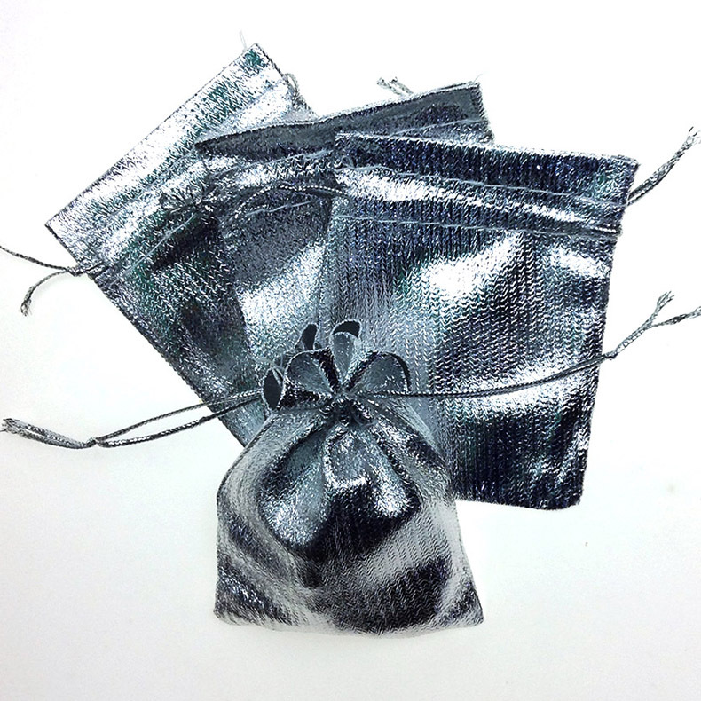 100pcs/lot 5x7cm Golden Silver Color Drawstring Organza Pouches Candy  Jewelry Gift Packaging Display Bags
