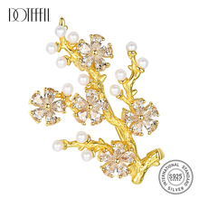 DOTEFFIL High Quality 925 Silver Brooch For Women Pearl Tree Shaped Brooch Women Accessories Brooches Wedding Fine Jewelry Gift cmajor flower shaped brooch with pearl jewelry silver gold color brooches for women