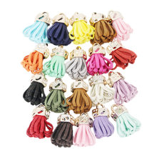 (20 pieces/lot ) Gold hat Tassel Vintage Leather Tassels Fringe for Purl Macrame DIY Jewelry Keychain Cellphone Straps Pendant(China)