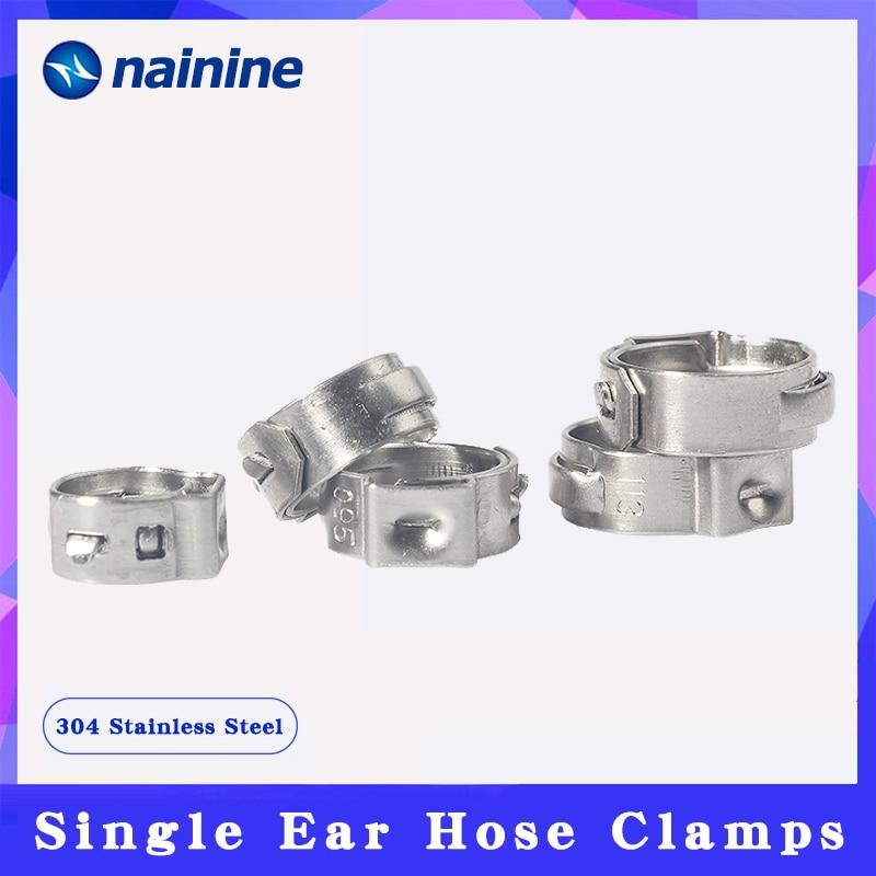 5/10 шт. 6,5 мм-19,8 мм Нержавеющаясталь 304 одного уха зажим для шланга клип