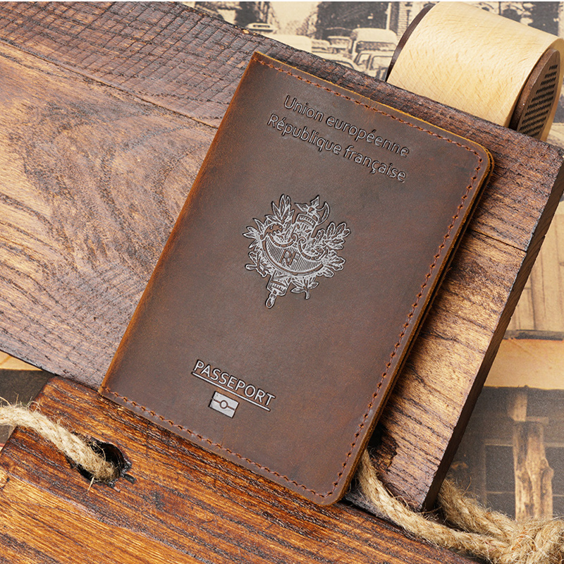 Real Leather Francais Passport Cover Porte Carte Crazy Horse Genuine Leather Passport Cover Protege Pochette Passeport