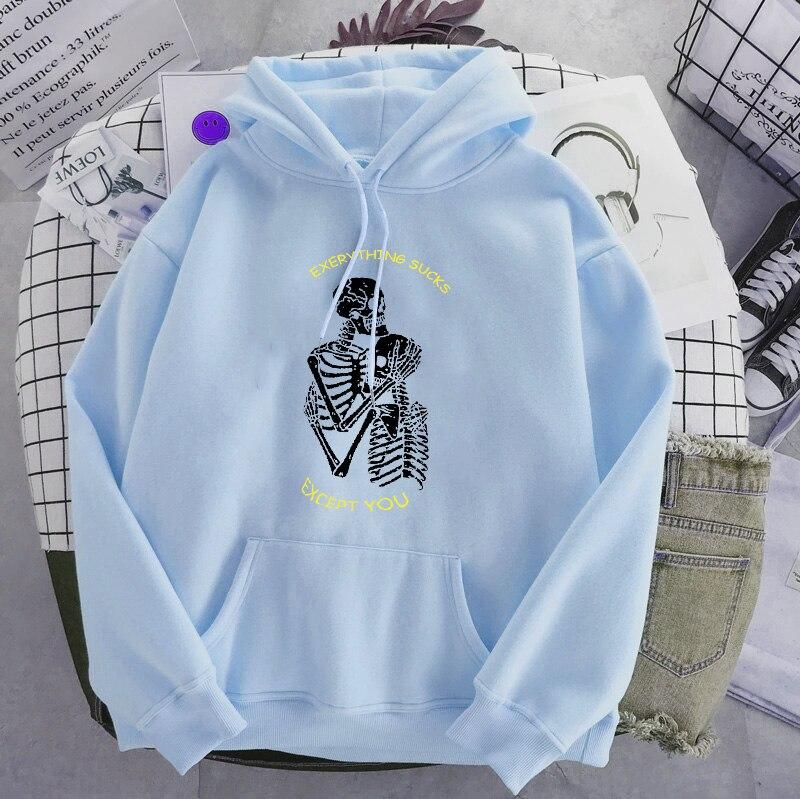 Punk style women's hoodie skull long sleeve casual top goth skeleton dark black 2021 loose ulzzang fashion women's sweatshirt 12