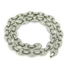 цены Iced Out Paved Rhinestones 1Set 13MM Gold Silver Full Miami Curb Cuban Chain CZ Bling Rapper Necklaces For Men Hip Hop Jewelry