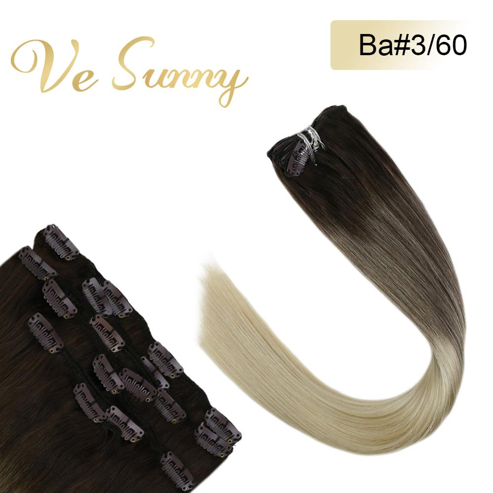VeSunny Clip In Hair Extensions Machine Made Remy Human Hair 7pcs Clip On Extensions Balayage Ombre Brown To Blonde #2/60 120gr