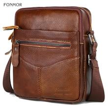 Fonmor Casual Genuine Cow Leather Men's Messenger Bag Vintage Crossbody Bag  Male Large Capacity Single Shoulder Handbag For Men цена 2017