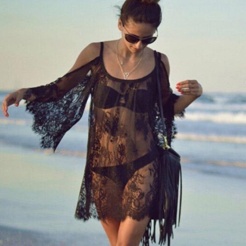 Women Sheer Mesh Bikini Swimsuit Cover Up Swimwear Kaftan Beach Saida De Praia Robe De Plage