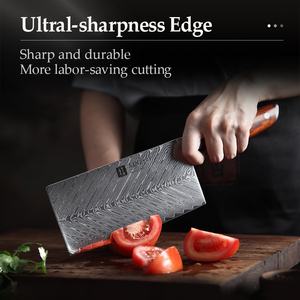 Image 5 - XINZUO 7 Cleaver Knife 67 layers Damascus Steel Kitchen Knives New Arrival Slicing Knife with Good Quality Rose wood Handle
