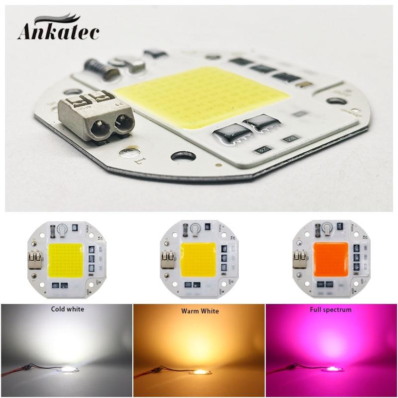 Светодиодный 20 Вт 30 Вт 50 Вт COB Чип лампы AC110V 220 В интегрированная Smart IC драйвер Холодный/теплый белый полный спектр белого светильник «сделай ...