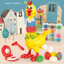 Dough Feather Chicken Toy Set for Kids Bald Hens Press to Grow Feather & Lay Eggs 12 Colors Wheat Dough Non-Toxic LBV