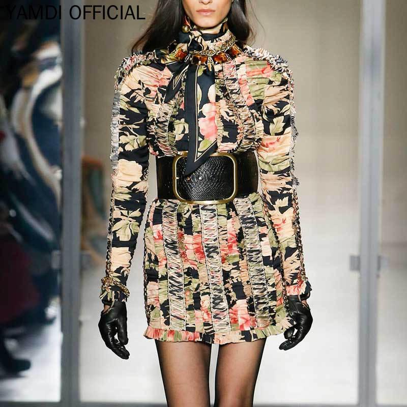 YAMDI платье трапециевидной формы для женщин; сезон осень зима; дизайнерские платья для подиума; коллекция 2019 года; женские высококачественны