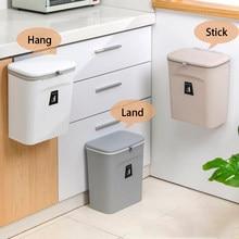 9L Wall Mounted Trash Can Kitchen Bin With Lid Waste Bin Kitchen Door Hanging Trash Bin Garbage Car Trash Can Recycle Bin