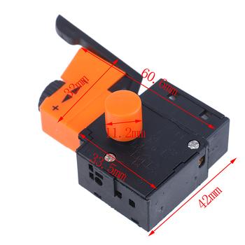 1pc AC 220V 6A FA2 61BEK regulowana prędkość przełącznik z tworzywa sztucznego metalu do wiertarki elektrycznej przełączniki spustowe wysokiej jakości tanie i dobre opinie CN (pochodzenie) Other Trigger Switch Speed Switch Przełącznik Wciskany