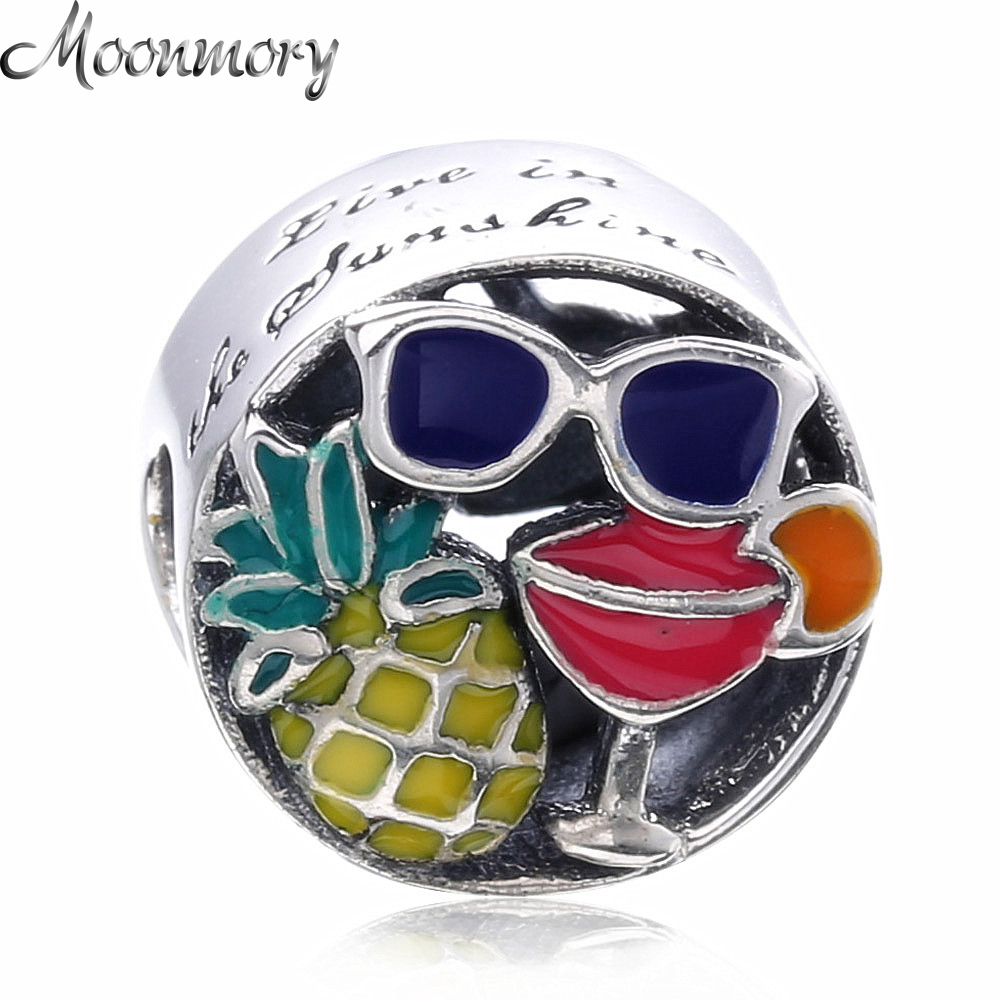 Moonmory Summer Fun Silver charm 925 Sterling Silver Bead With Colorful Colorful Enamel Fit Brand Bracelet DIY Jewelry