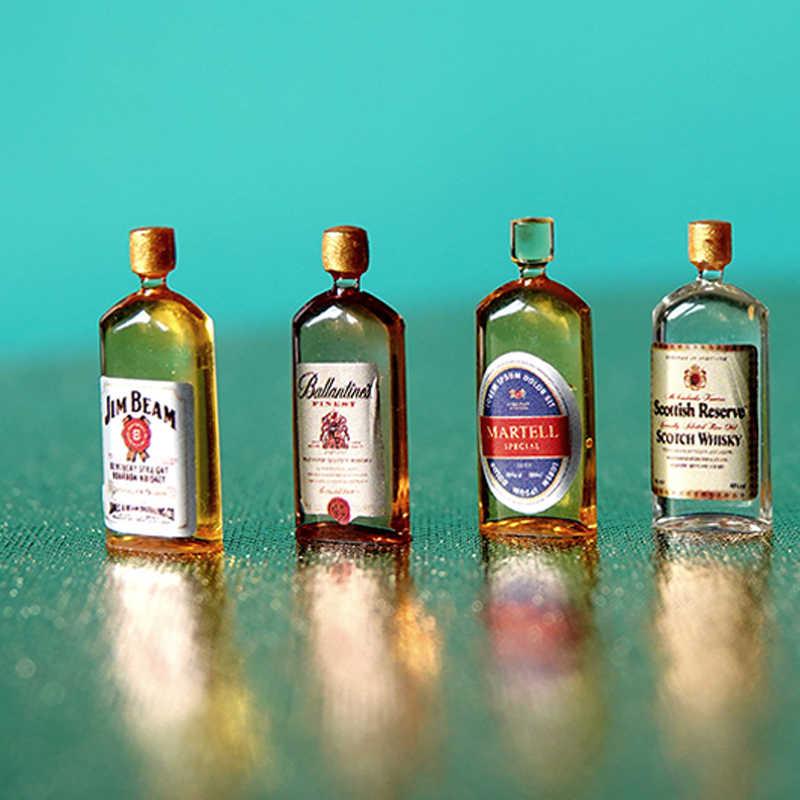 6 sztuk 1:12 domek dla lalek miniaturowe akcesoria Mini żywica whiskey wino butelka imitacja wyposażenia zabawki modele dla lalek wystrój domu