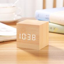 Bedside Mini Led Electronic Alarm Clock Simple Wooden Alarm Clock Date Display Time Reloj Despertador Home Decor Clocks OO50AC(China)