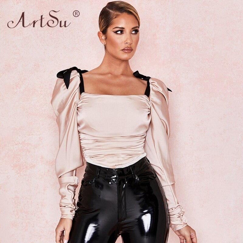 ArtSu Women 2020 New Fashion Bow Tie Up Straps Pink Silk Satin Bodysuit Square Collar Lantern Sleeve Sexy White Party Bodysuits