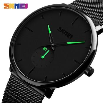 цена на 2020 SKMEI Fashion Men Quartz Watches 30M Male Waterproof Wristwatches Simple Business Watches Relogio Masculino 9185 Clock