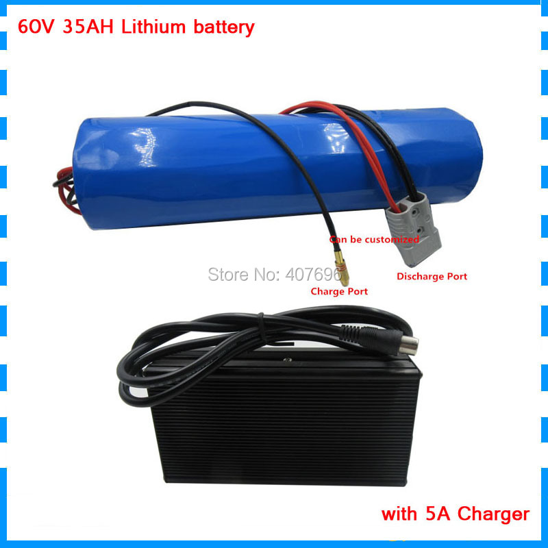 Free customs fee 2500W <font><b>60V</b></font> 35AH battery <font><b>60V</b></font> cylinder-shape battery pack use <font><b>samsung</b></font> 3500mah cell 50A BMS with 5A Charger image