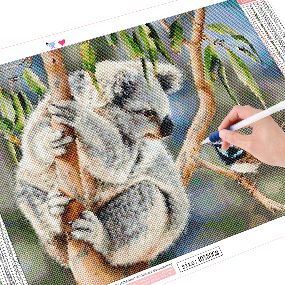 HUACAN Full Square/round Diamond Painting Cross Stitch 5D Koala Diamond Embroidery Animal Mosaic Home Decoration